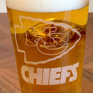 Personalized Pint Glass with Embedded Football